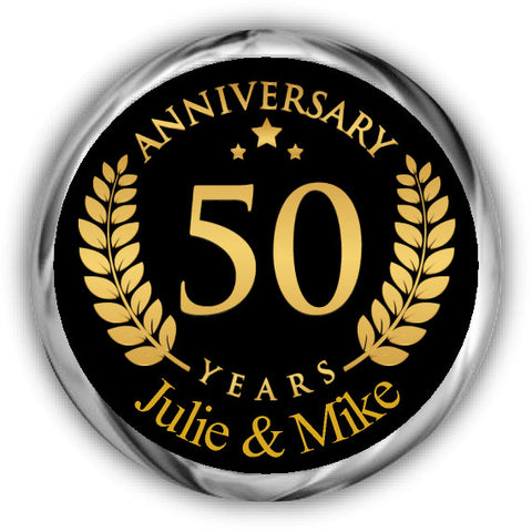 Gold Anniversary Hershey Kisses Stickers