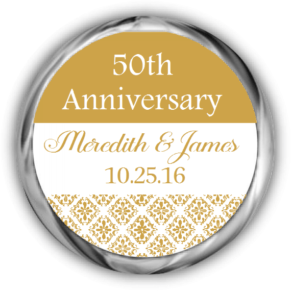 50th Damask Anniversary Kisses Sticker