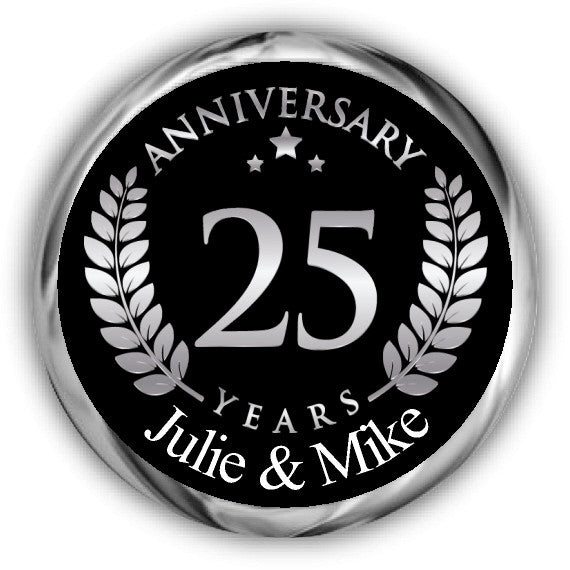 Silver Anniversary Hershey Kisses Stickers