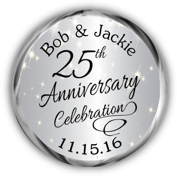 Silver Sparkly Anniversary Kisses Stickers