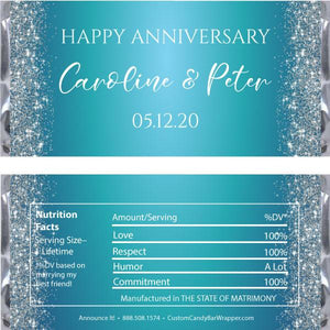 Glitter Anniversary Candy Bar Wrappers