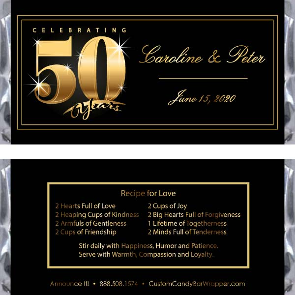 Golden 50th Anniversary Candy Bar Wrappers