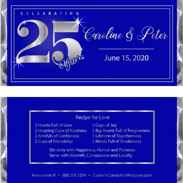 Silver 25th Anniversary Candy bar Wrappers