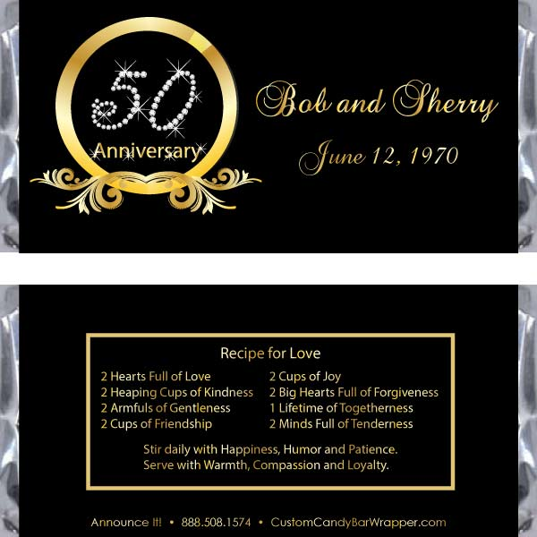 Diamond 50th Anniversary Candy Bar Wrappers