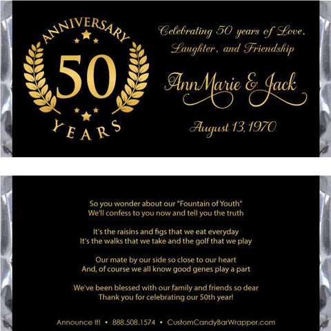Golden Emblem 50th Anniversary Candy Bar Wrappers