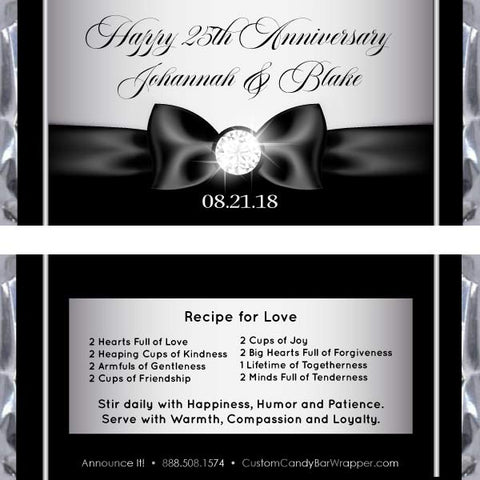 Silver Diamond Ribbon Anniversary Candy Bar Wrappers