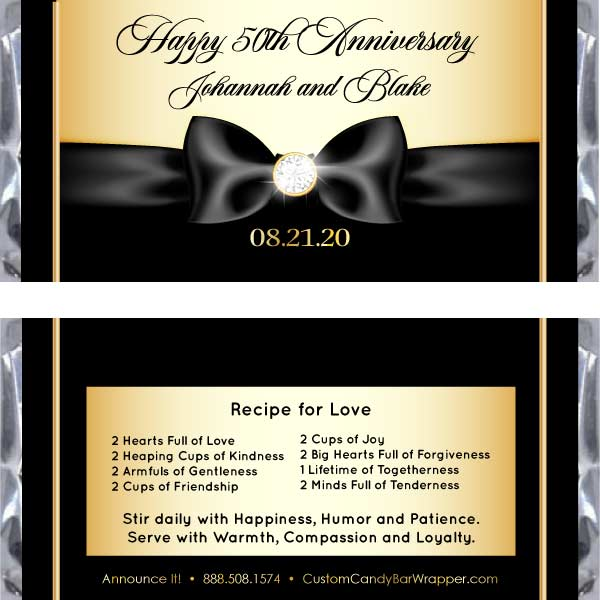 Gold Diamond Ribbon Anniversary Candy Bar Wrappers
