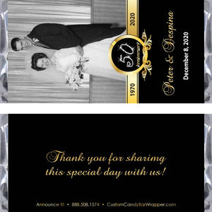 Anniversary Gold Photo Candy Bar Wrappers