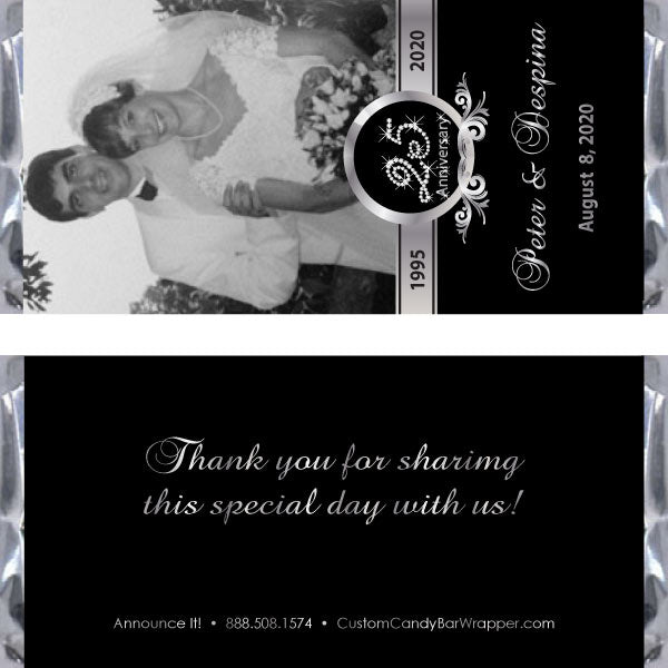 Silver Photo Anniversary Candy Bar Wrappers