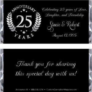 Silver Emblem 25th Anniversary Candy Wrappers