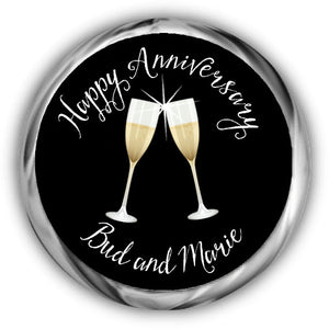 Champagne Glasses Anniversary Kisses Sticker