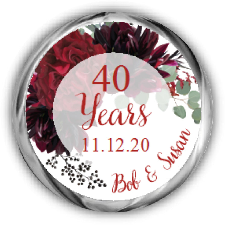 Floral 40th Personalized Anniversary Kisses Stickers