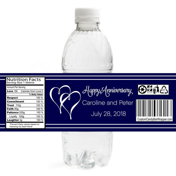 Hearts Anniversary Bottle Label