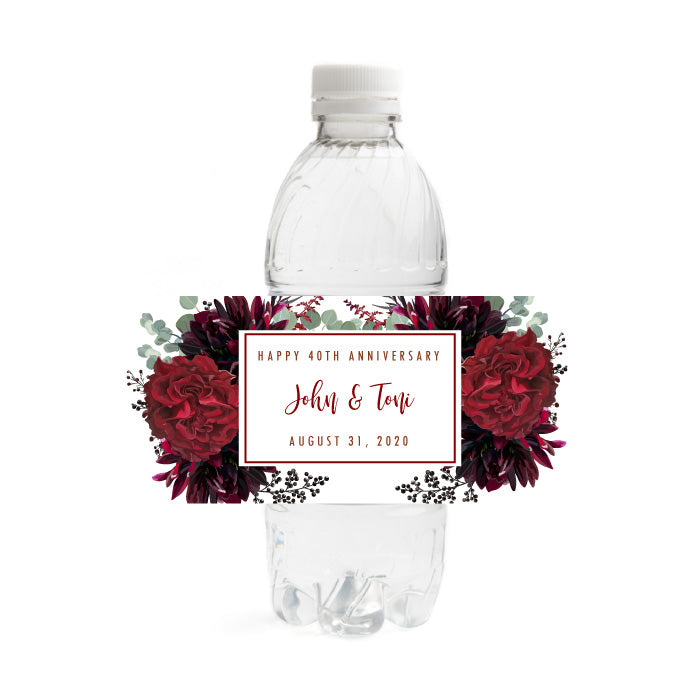 Floral 40th Anniversary Water Bottle Labels