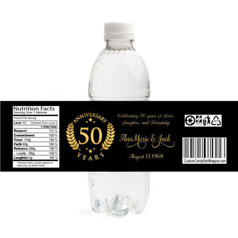 50th Emblem Anniversary Water Bottle Labels