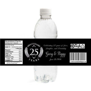 25th Anniversary Water Bottle Labels
