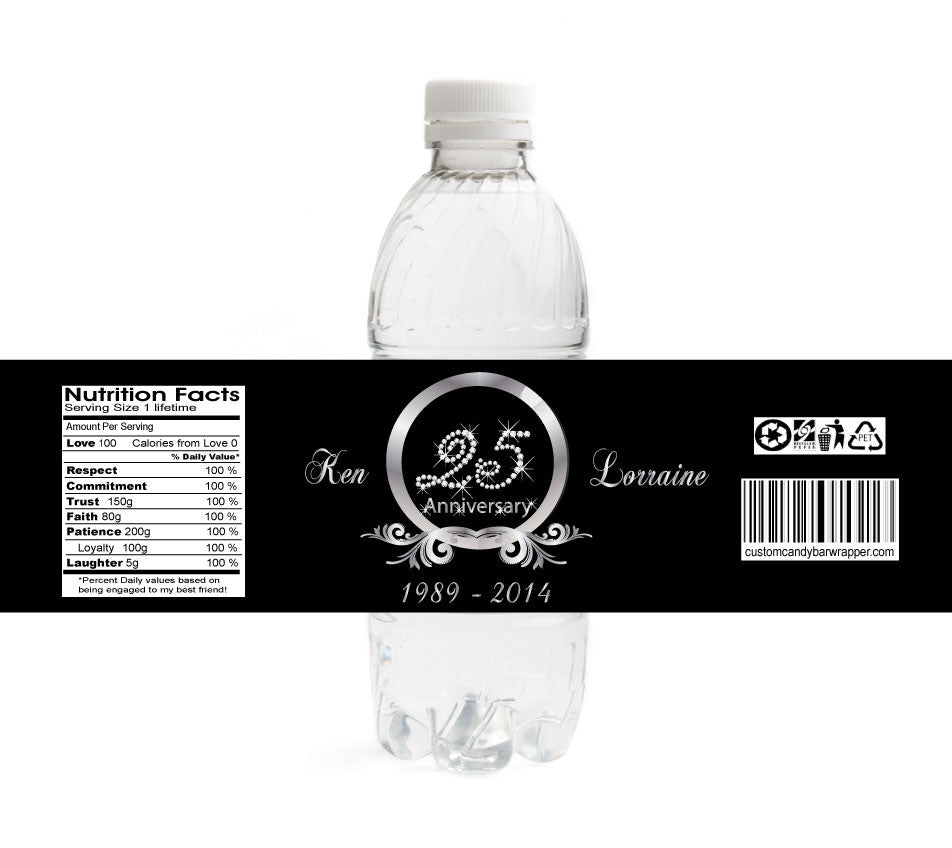 Diamond 25th Anniversary Bottle Labels