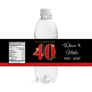40th Anniversary Water Bottle Labels