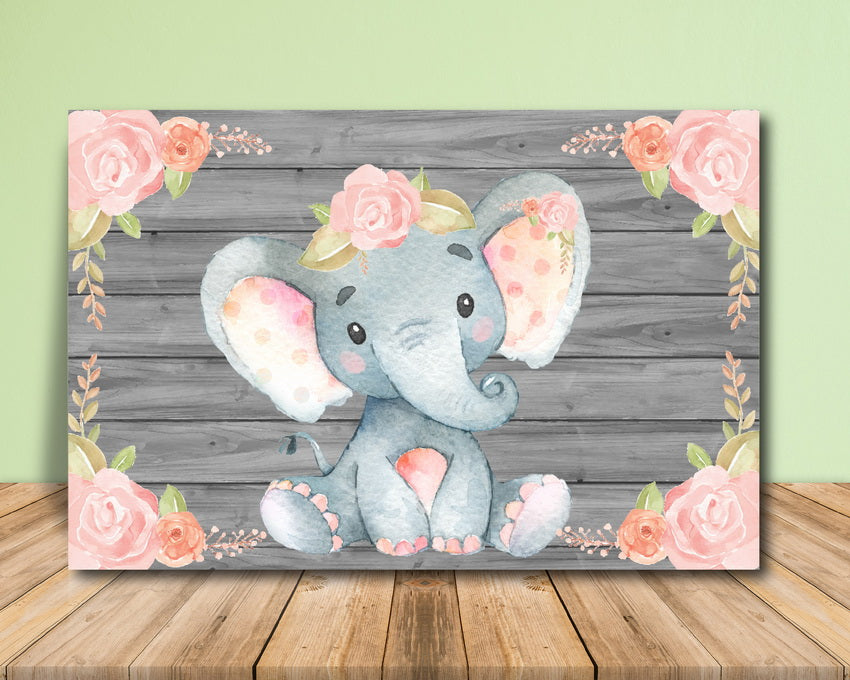 Pink Elephant Baby Shower Backdrop Printable Announce It