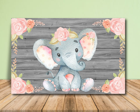 Pink Elephant Baby Shower Backdrop - Printable