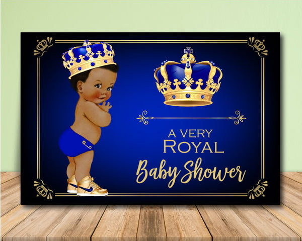 Royal Prince Baby Shower Backdrop - Darker