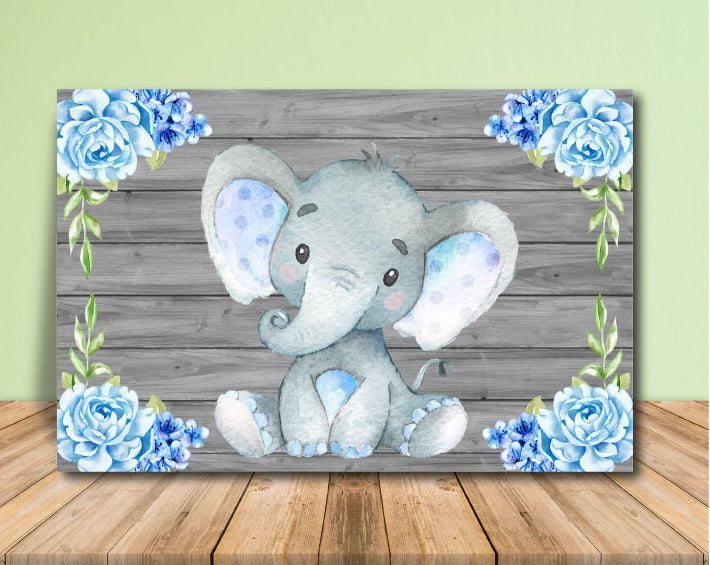Blue Elephant Baby Shower Backdrop