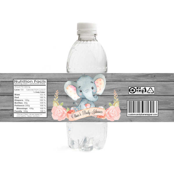 Pink Elephant Baby Shower Water Bottle Label