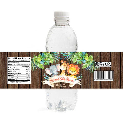 Jungle Baby Shower Water Bottle Labels