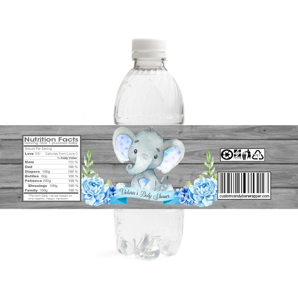 Blue Elephant Baby Shower Water Bottle Label