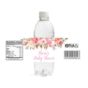 Floral Baby Shower Water Bottle Labels