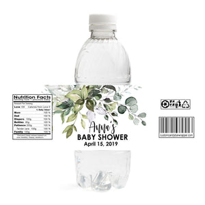 Greenery Baby Shower Water Bottle Labels