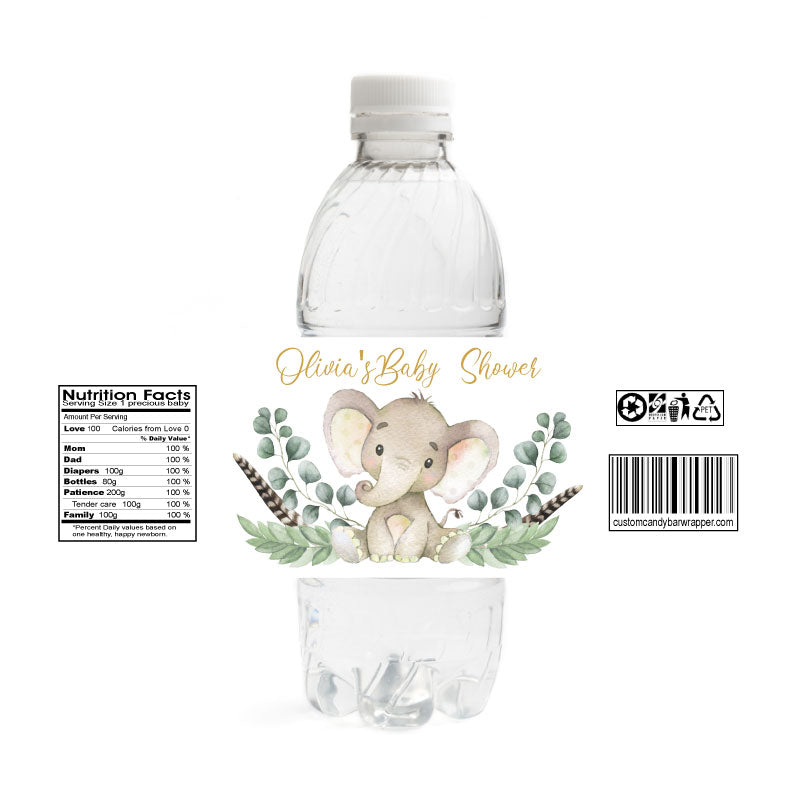 Gold Elephant Baby Shower Water Bottle Labels