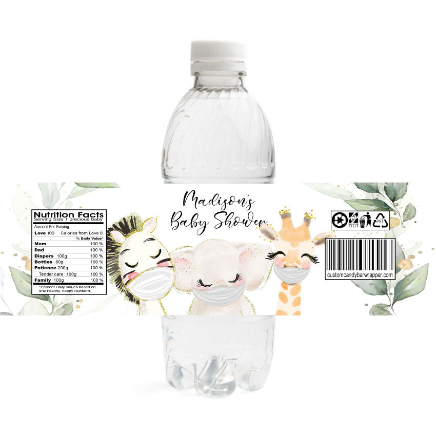 Pandemic Baby Shower Water Bottle Labels
