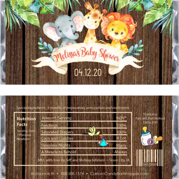 Jungle Animals Baby Shower Candy Wrapper