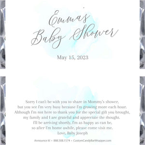 Watercolor Baby Shower Candy Bar Wrappers