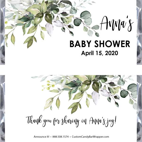 Greenery Baby Shower Candy Bar Wrappers
