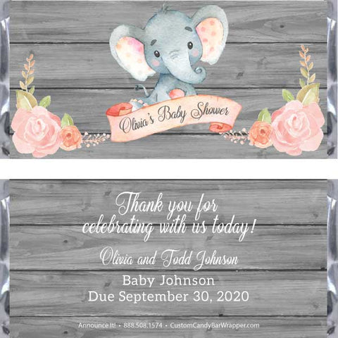 Elephant Baby Shower Candy Bar Wrappers - Pink