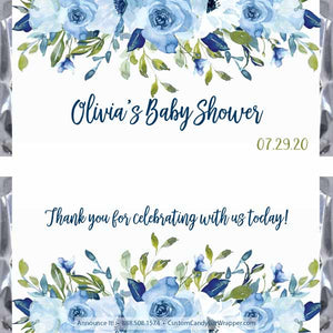 Blue Floral Baby Shower Candy Bar Wrappers