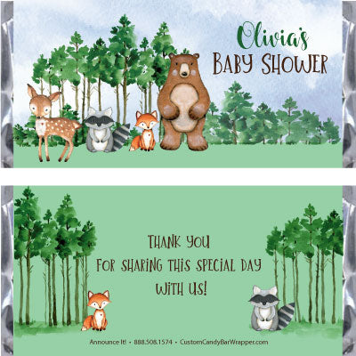 Woodland Creatures Baby Shower Candy Bar Wrappers
