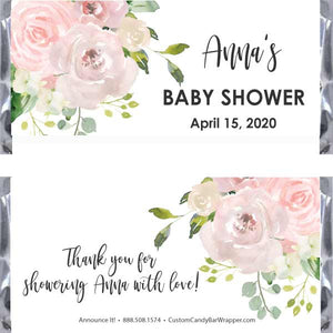 Blush Baby Shower Candy Bar Wrappers