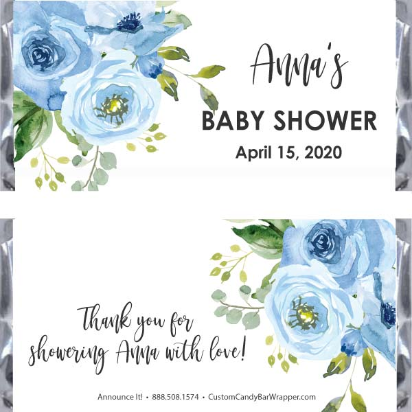 Blue Baby Shower Candy Bar Wrapper