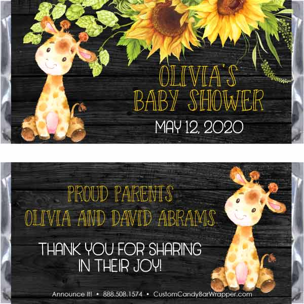 Giraffe Baby Shower Candy Bar Wrappers
