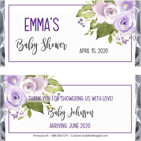 Purple Baby Shower Candy Bar Wrappers
