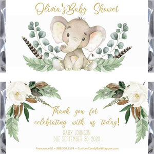 Gold Elephant Baby Shower Candy Bar Wrappers