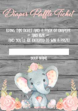 Pink Elephant Diaper Raffle Tickets