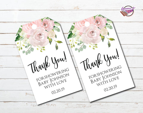 Floral Baby Shower Thank You Tags