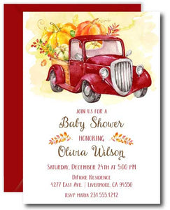 Red Truck Pumpkin Baby Shower Invitation