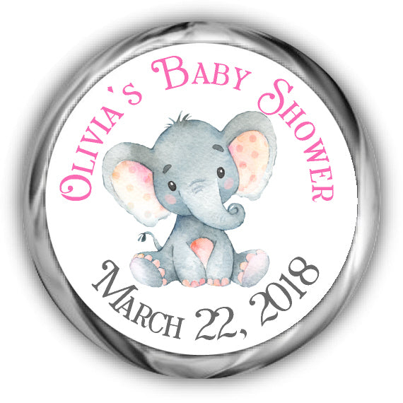 Elephant Baby Shower Kisses Stickers Girl