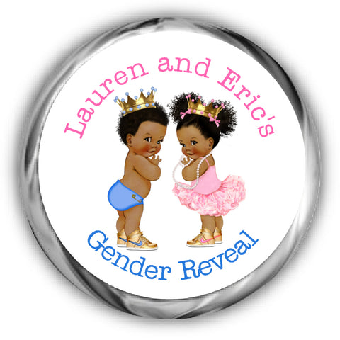 Prince or Princess Gender Reveal Kisses Stickers