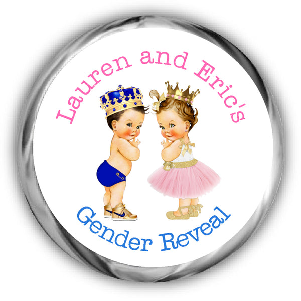 Lighter Complexion Prince or Princess Gender Reveal Stickers